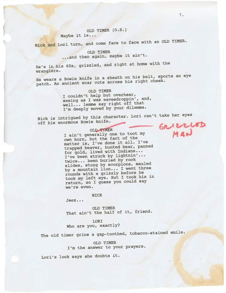 Page from draft of the script for The Canyon, written by Steve Allrich